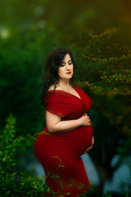 Portrait Studio in Louisville KY, pregnant woman in red dress