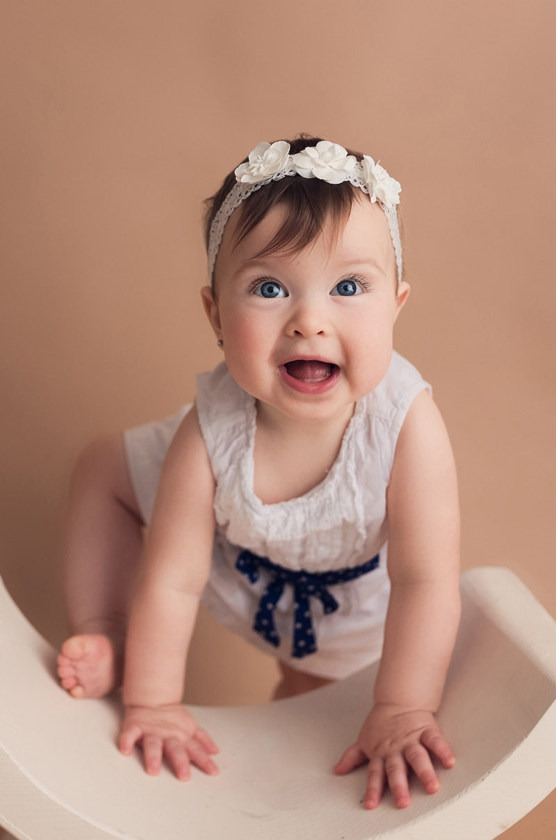 Portrait Studio in Louisville KY, baby girl with white floral headband